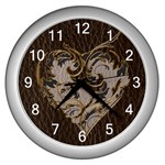 Leather-Look Heart  Wall Clock (Silver)