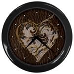Leather-Look Heart  Wall Clock (Black)