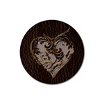 Leather-Look Heart  Rubber Round Coaster (4 pack)