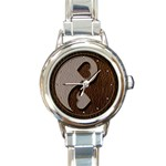 Leather-Look Yin Yang Round Italian Charm Watch