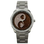 Leather-Look Yin Yang Sport Metal Watch