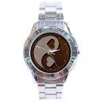 Leather-Look Yin Yang Stainless Steel Analogue Men's Watch