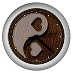Leather-Look Yin Yang Wall Clock (Silver)