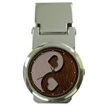 Leather-Look Yin Yang Money Clip Watch