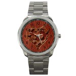 Leather-Look Heart Red Sport Metal Watch
