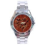 Leather-Look Heart Red Stainless Steel Analogue Men's Watch