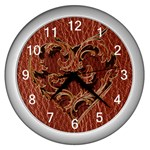 Leather-Look Heart Red Wall Clock (Silver)