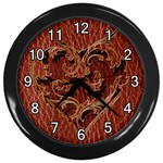 Leather-Look Heart Red Wall Clock (Black)