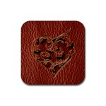 Leather-Look Heart Red Rubber Square Coaster (4 pack)