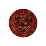 Leather-Look Heart Red Rubber Round Coaster (4 pack)