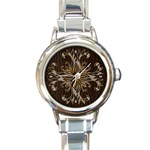 Leather-Look Star Round Italian Charm Watch