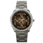Leather-Look Star Sport Metal Watch