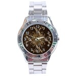 Leather-Look Star Stainless Steel Analogue Men's Watch
