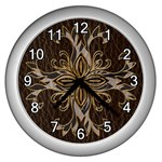 Leather-Look Star Wall Clock (Silver)