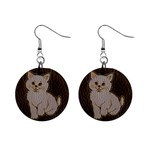 Leather-Look Kitten 1  Button Earrings