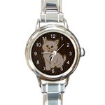 Leather-Look Kitten Round Italian Charm Watch