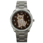 Leather-Look Kitten Sport Metal Watch