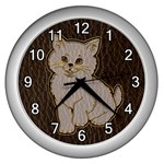 Leather-Look Kitten Wall Clock (Silver)