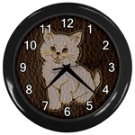 Leather-Look Kitten Wall Clock (Black)