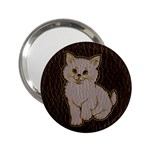 Leather-Look Kitten 2.25  Handbag Mirror
