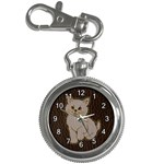 Leather-Look Kitten Key Chain Watch
