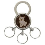 Leather-Look Kitten 3-Ring Key Chain