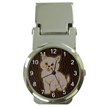 Leather-Look Kitten Money Clip Watch