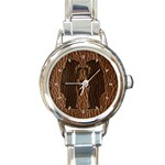 Leather-Look Black Bears Round Italian Charm Watch