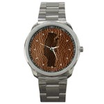 Leather-Look Black Bear Sport Metal Watch