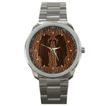 Leather-Look Black Bears Sport Metal Watch