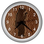 Leather-Look Black Bear Wall Clock (Silver)