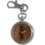 Leather-Look Black Bear Key Chain Watch
