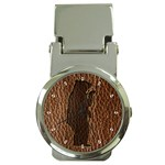 Leather-Look Black Bear Money Clip Watch