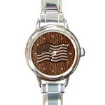 Leather-Look USA Round Italian Charm Watch