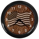 Leather-Look USA Wall Clock (Black)
