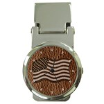 Leather-Look USA Money Clip Watch