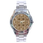 Leather-Look Ornament Stainless Steel Analogue Men's Watch