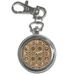 Leather-Look Ornament Key Chain Watch