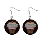 Leather-Look Baking 1  Button Earrings