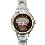 Leather-Look Baking Round Italian Charm Watch