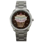 Leather-Look Baking Sport Metal Watch
