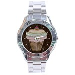 Leather-Look Baking Stainless Steel Analogue Men's Watch