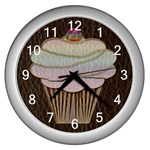 Leather-Look Baking Wall Clock (Silver)