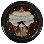 Leather-Look Baking Wall Clock (Black)