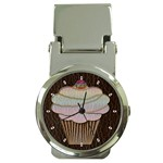 Leather-Look Baking Money Clip Watch