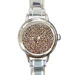 Just Snow Leopard Round Italian Charm Watch