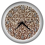 Just Snow Leopard Wall Clock (Silver)