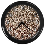 Just Snow Leopard Wall Clock (Black)