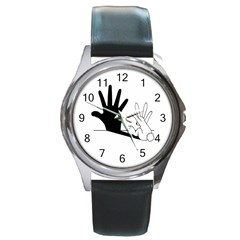 Rabbit Hand Shadow Black Leather Watch (round) by rabbithandshadow