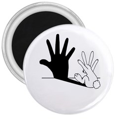 Rabbit Hand Shadow Large Magnet (Round) by rabbithandshadow